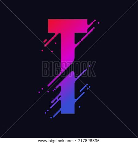 Alphabet letter T with liquid splash and drops, abstract colorful ink abc, stylized dynamic paint trail font. Vector