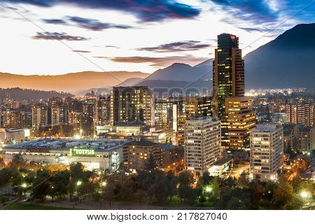 Santiago Region Metropolitana Chile - May 25 2017: View of Parque Arauco a shopping mall in Las Condes district with shopping hotels and premium office space.