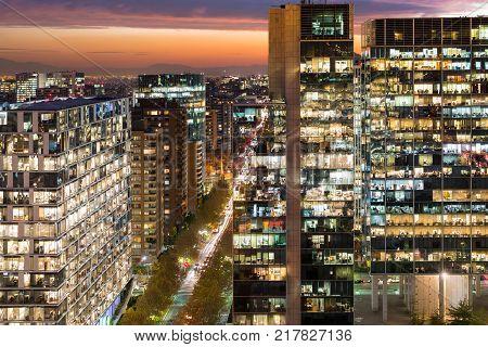 Office corporate buildings at Nueva Las Condes financial district