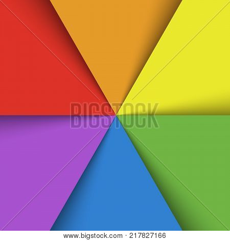 Overlapping colorful paper sheets in colors of rainbow spectrum arranged in a fan. With shadow effect. Happy abstract vector background wallpaper.