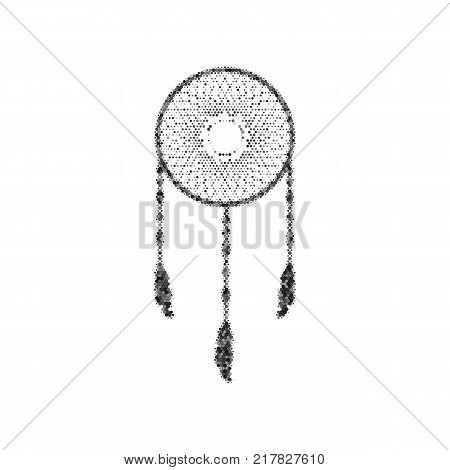 Dream catcher sign. Vector. Black icon from many ovelapping circles with random opacity on white background. Noisy. Isolated.