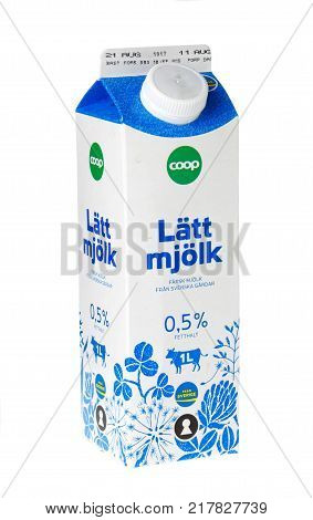 Stockholm Sweden - November 16 2017: One milk carton containing 1 liter skimmed milk for the Swedish market. This milk box was filled during August 2017.
