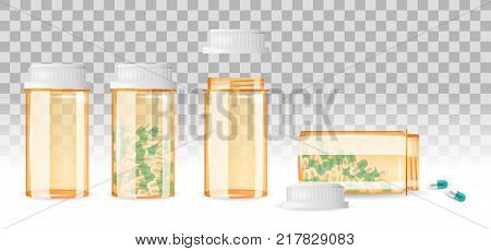 Set of closed and open pill bottles on the transparent background. Realistic vector illustration. Medicine, prescription, drug bottles collection.