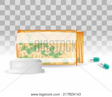 Pills are spilling out of a bottle. Realistic vector illustration. Tablets in a bottle on the transparent background. Capsule-shaped tablets in prescription, medicine and drug bottle.