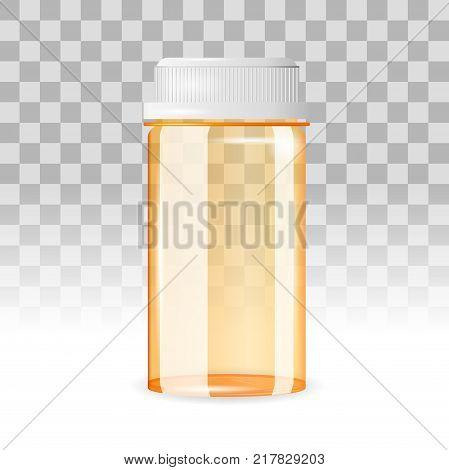 Closed and empty pill bottle on the transparent background. Realistic vector illustration. Tablet, prescription, medicine, drug bottle.