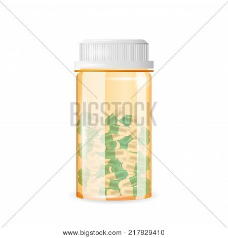 Closed pill bottle of capsule-shaped tablets. Realistic vector illustration. Tablets in a medicine, prescription, drug bottle isolated on the white background.