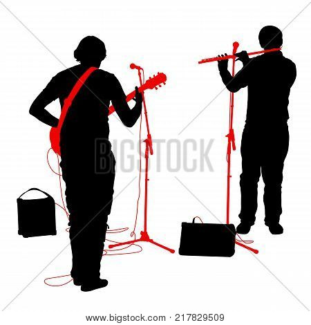 Silhouettes musicians plays the guitar and flute. Vector illustration.