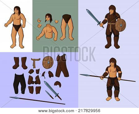 Set of humans v1. Human with set of leather armour: Vector cartoon man body parts and his leather armour and other equipment