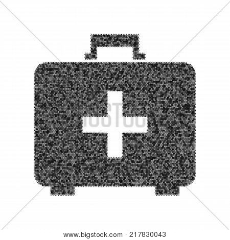 Medical First aid box sign. Vector. Black icon from many ovelapping circles with random opacity on white background. Noisy. Isolated.