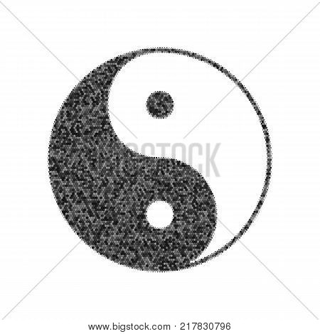 Ying yang symbol of harmony and balance. Vector. Black icon from many ovelapping circles with random opacity on white background. Noisy. Isolated.