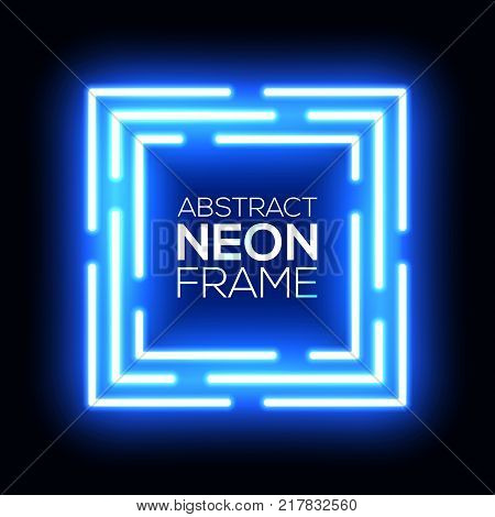 Blue neon light abstract squares. Shining techno square frame. Night club electric bright 3d box design on dark blue backdrop. Neon square background with glow. Technology vector cube illustration.