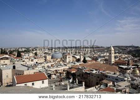 Jerusalem Israel. View from above of the old town. Monuments of Muslims Jews Arabs. Noon.Mount of Olives church mosque.