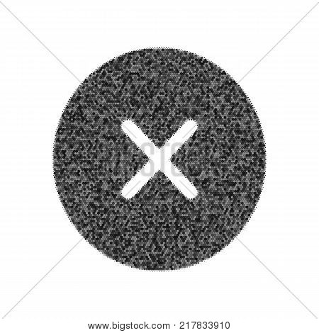 Cross sign illustration. Vector. Black icon from many ovelapping circles with random opacity on white background. Noisy. Isolated.