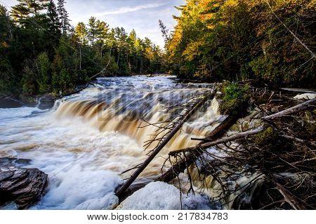 Upper Peninsula Waterfall. Scenic Lower Tahquamenon Falls rushes through the wilderness forest of the Upper Peninsula in Michigan.