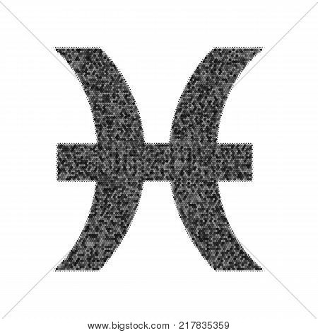Pisces sign illustration. Vector. Black icon from many ovelapping circles with random opacity on white background. Noisy. Isolated.
