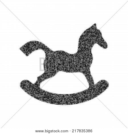Horse toy sign. Vector. Black icon from many ovelapping circles with random opacity on white background. Noisy. Isolated.