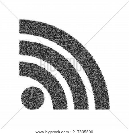RSS sign illustration. Vector. Black icon from many ovelapping circles with random opacity on white background. Noisy. Isolated.