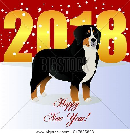 Happy new year card with Bernese mountain dog vector