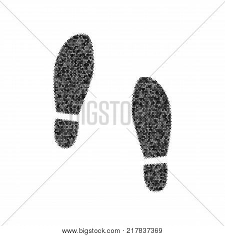 Imprint soles shoes sign. Vector. Black icon from many ovelapping circles with random opacity on white background. Noisy. Isolated.