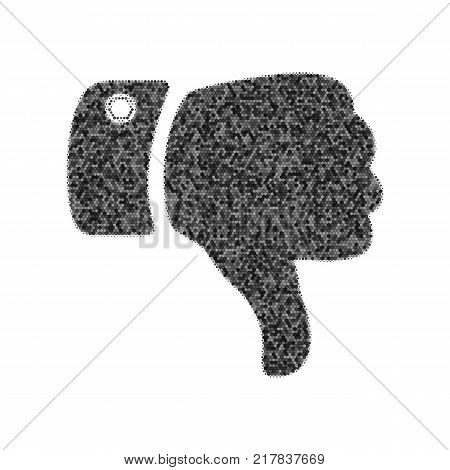 Hand sign illustration. Vector. Black icon from many ovelapping circles with random opacity on white background. Noisy. Isolated.