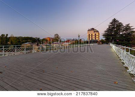 The White Bridge and the Rioni River at dawn. Kutaisi. Georgia.