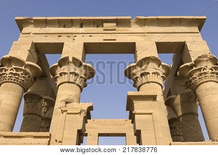 Buildings And Columns Of Ancient Egyptian Megaliths. Ancient Ruins Of Egyptian Buildings.