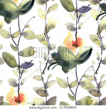 Watercolor and ink illustration of flowers and leaves. Sumi-e u-sin painting. Seamless pattern.