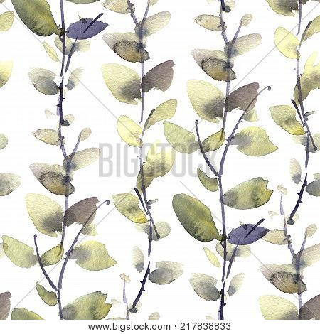 Watercolor and ink illustration of leaves. Sumi-e u-sin painting. Seamless pattern.