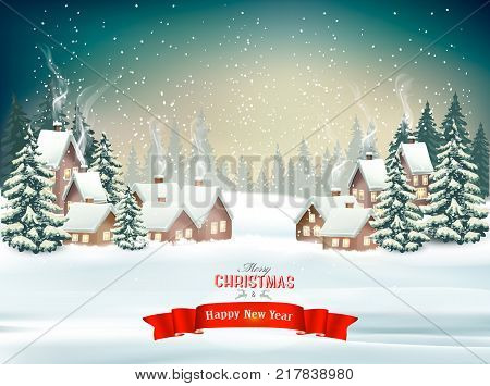 Holiday Christmas background with a winter village and trees. Vector.