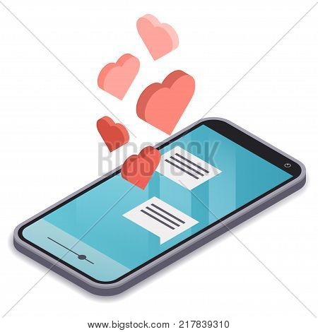 Isometric modern smartphone with blue display isolated on white background. Love correspondence in a messenger. Red Hearts flying out of phone screen. Likes in social networks. Vector illustration.