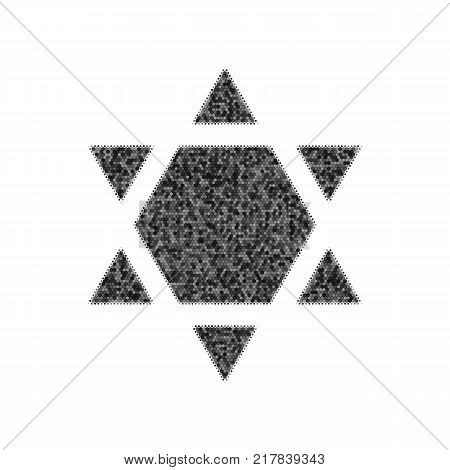 Shield Magen David Star Inverse. Symbol of Israel inverted. Vector. Black icon from many ovelapping circles with random opacity on white background. Noisy. Isolated.