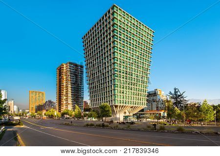 Santiago Region Metropolitana Chile - January 11 2017: The Apoquindo Avenue one of the most important streets in the city for the location of high profile corporate and office buildings.
