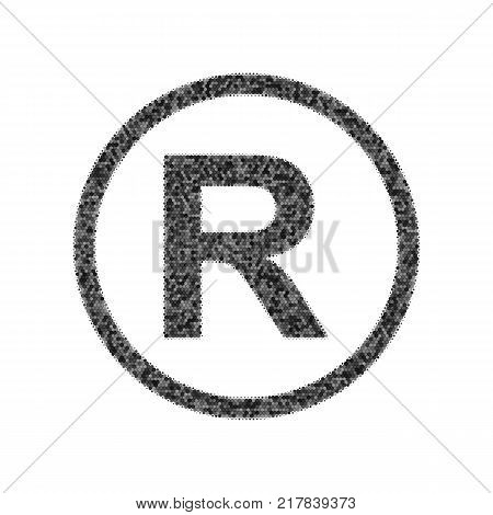 Registered Trademark sign. Vector. Black icon from many ovelapping circles with random opacity on white background. Noisy. Isolated.