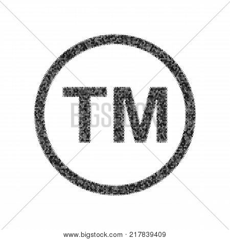 Trade mark sign. Vector. Black icon from many ovelapping circles with random opacity on white background. Noisy. Isolated.