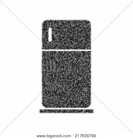 Refrigerator sign illustration. Vector. Black icon from many ovelapping circles with random opacity on white background. Noisy. Isolated.