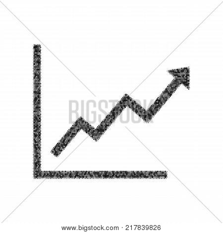 Growing bars graphic sign. Vector. Black icon from many ovelapping circles with random opacity on white background. Noisy. Isolated.