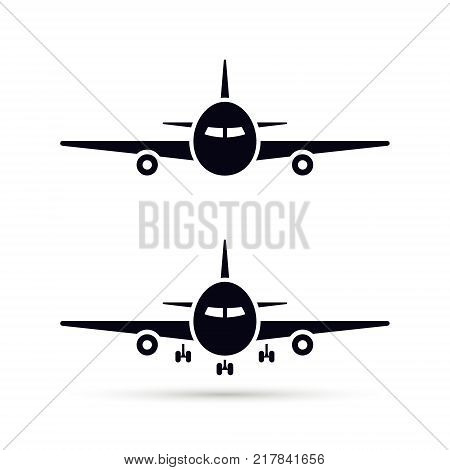 Plane Icon set in flat style Vector airplane simple black silhouette on white background.