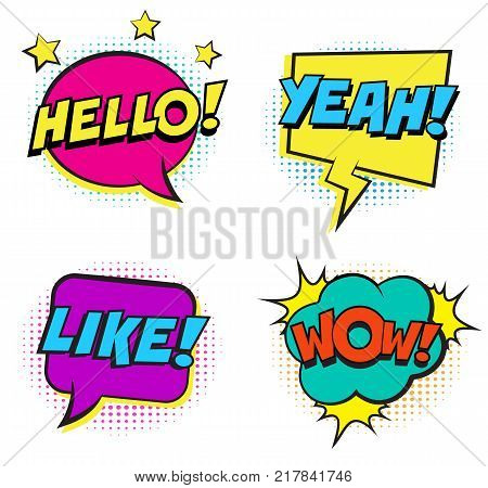 Retro colorful comic speech bubbles set with halftone shadows on white background. Expression text HELLO, YEAH, HELLO, LIKE, WOW. Vector illustration, pop art style.