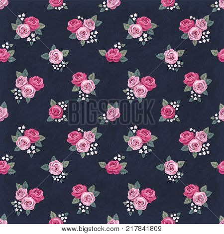Seamless floral vintage romantic pattern with pink roses on dark shabby background. Retro style. Shabby chic design. Perfect for scrapbooking, greeting cards etc