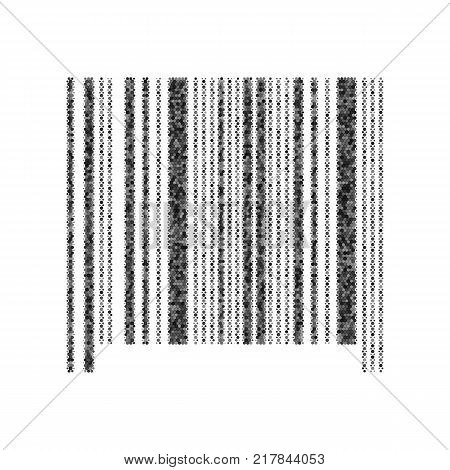 Bar code sign. Vector. Black icon from many ovelapping circles with random opacity on white background. Noisy. Isolated.
