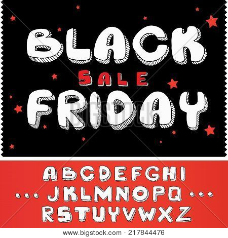 Black Friday doodle text and design elements