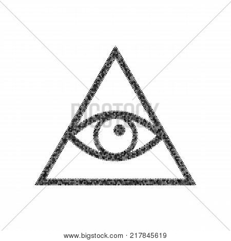 All seeing eye pyramid symbol. Freemason and spiritual. Vector. Black icon from many ovelapping circles with random opacity on white background. Noisy. Isolated.