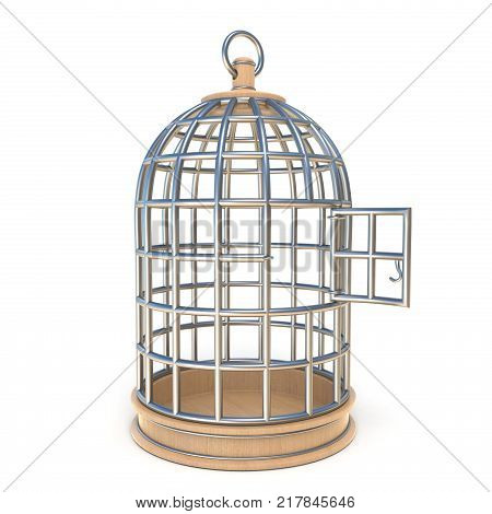 Empty bird cage opened 3D render illustration isolated on white background