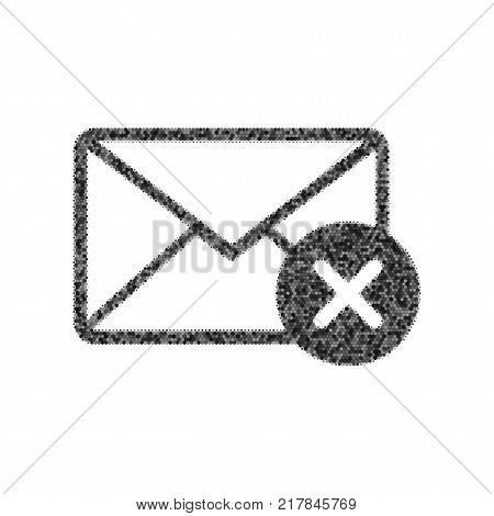 Mail sign illustration with cancel mark. Vector. Black icon from many ovelapping circles with random opacity on white background. Noisy. Isolated.