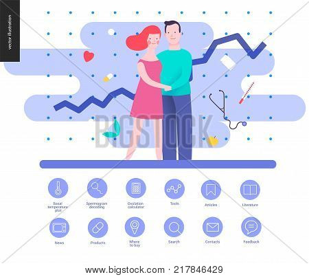 Reproduction - interface template wit a vector illustration and a set of outlined icons