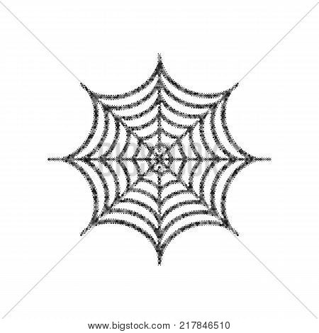 Spider on web illustration. Vector. Black icon from many ovelapping circles with random opacity on white background. Noisy. Isolated.