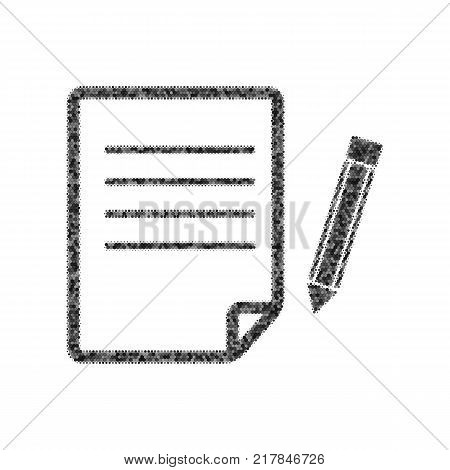 Paper and pencil sign. Vector. Black icon from many ovelapping circles with random opacity on white background. Noisy. Isolated.