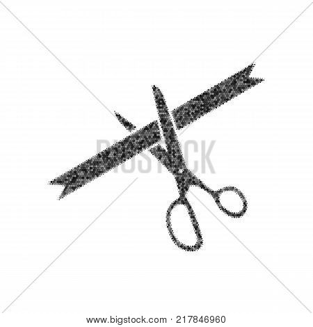 Ceremony ribbon cut sign. Vector. Black icon from many ovelapping circles with random opacity on white background. Noisy. Isolated.