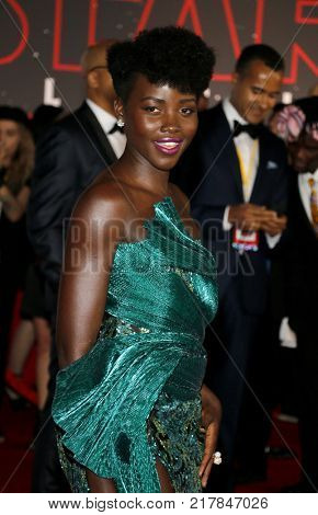 Lupita Nyong'o at the World premiere of 'Star Wars: The Last Jedi' held at the Shrine Auditorium in Los Angeles, USA on December 9, 2017.