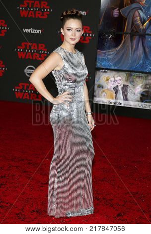 Billie Lourd at the World premiere of 'Star Wars: The Last Jedi' held at the Shrine Auditorium in Los Angeles, USA on December 9, 2017.
